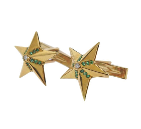 image of Midcentury Diamond Emerald Gold Star Cufflinks