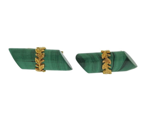 image of Midcentury Malachite Gold Cufflinks