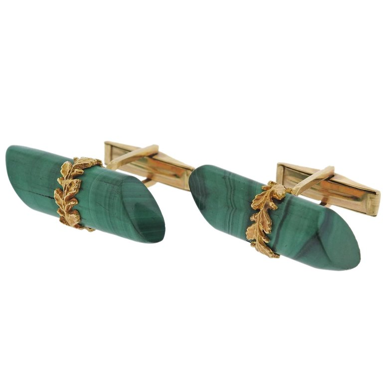 thumbnail image of Midcentury Malachite Gold Cufflinks