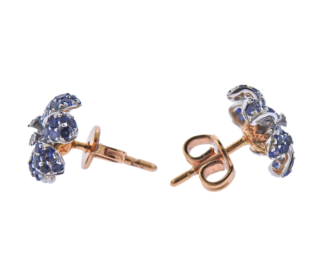 thumbnail image of Gucci Flora Orchid Gold Diamond Sapphire Stud Earrings