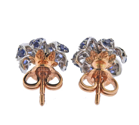 image of Gucci Flora Orchid Gold Diamond Sapphire Stud Earrings