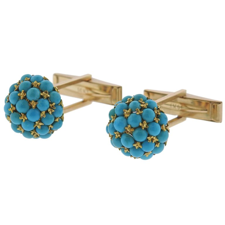 thumbnail image of 1960s Turquoise Gold Cufflinks