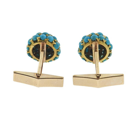 image of 1960s Turquoise Gold Cufflinks