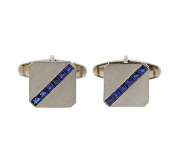 thumbnail image of Art Deco French Cut Sapphire Platinum Gold Cufflinks