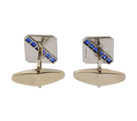 image of Art Deco French Cut Sapphire Platinum Gold Cufflinks
