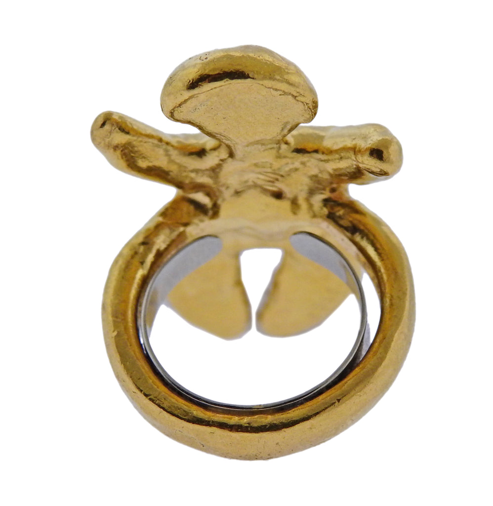 thumbnail image of Jean Mahie 22k Gold Sculpted Figure Ring