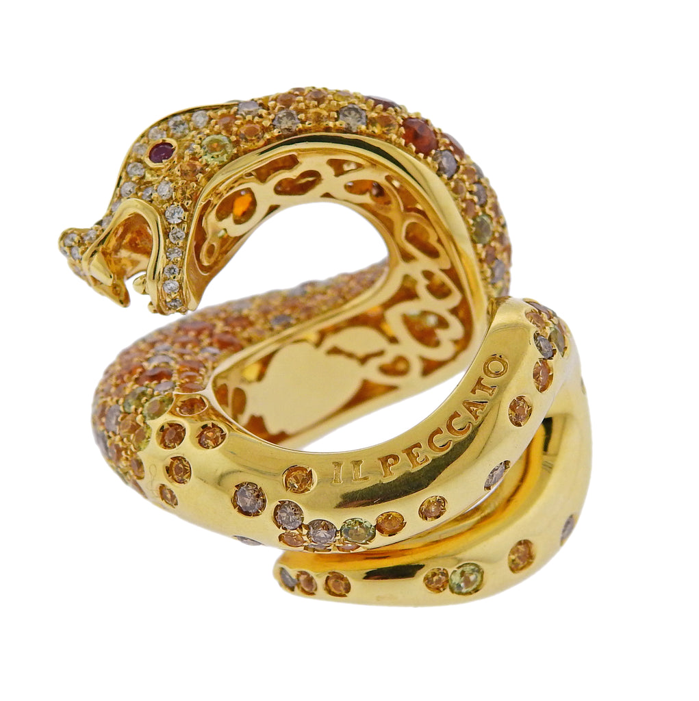thumbnail image of Pasquale Bruni Fancy Diamonds Sapphire Serpent Ring