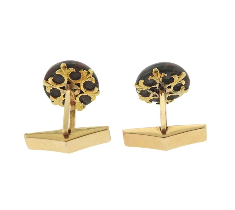 thumbnail image of Antique Bloodstone Diamond Ruby Flower Gold Cufflinks