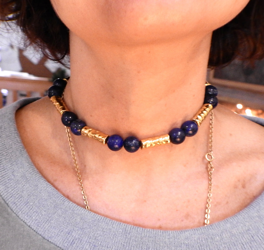 thumbnail image of Jean Mahie 22k Gold Lapis Bead Necklace