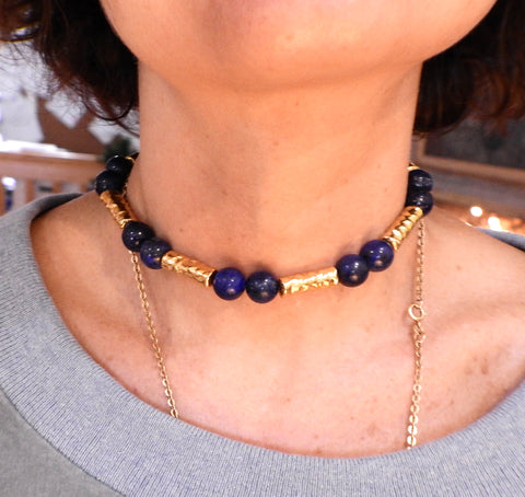 image of Jean Mahie 22k Gold Lapis Bead Necklace