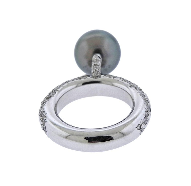thumbnail image of Mikimoto Black South Sea Pearl Diamond Gold Ring