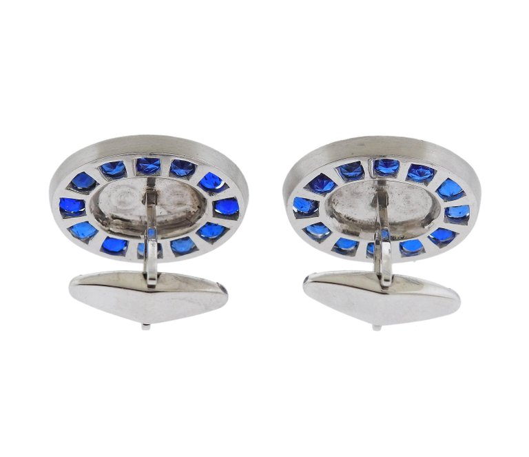 thumbnail image of Large Lucien Piccard 1950s Gemstone Gold Cufflinks