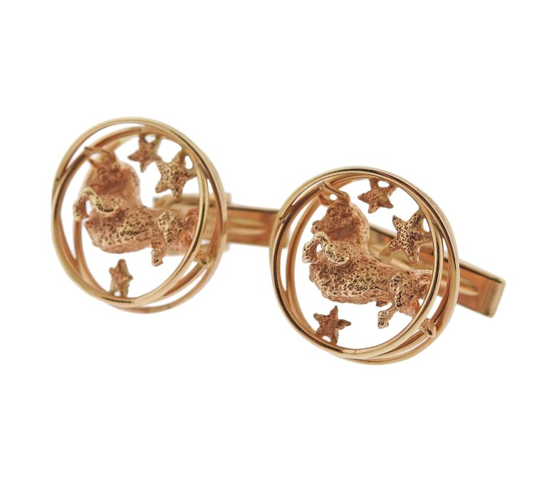 thumbnail image of Ruser Zodiac Sign Taurus Gold Cufflinks