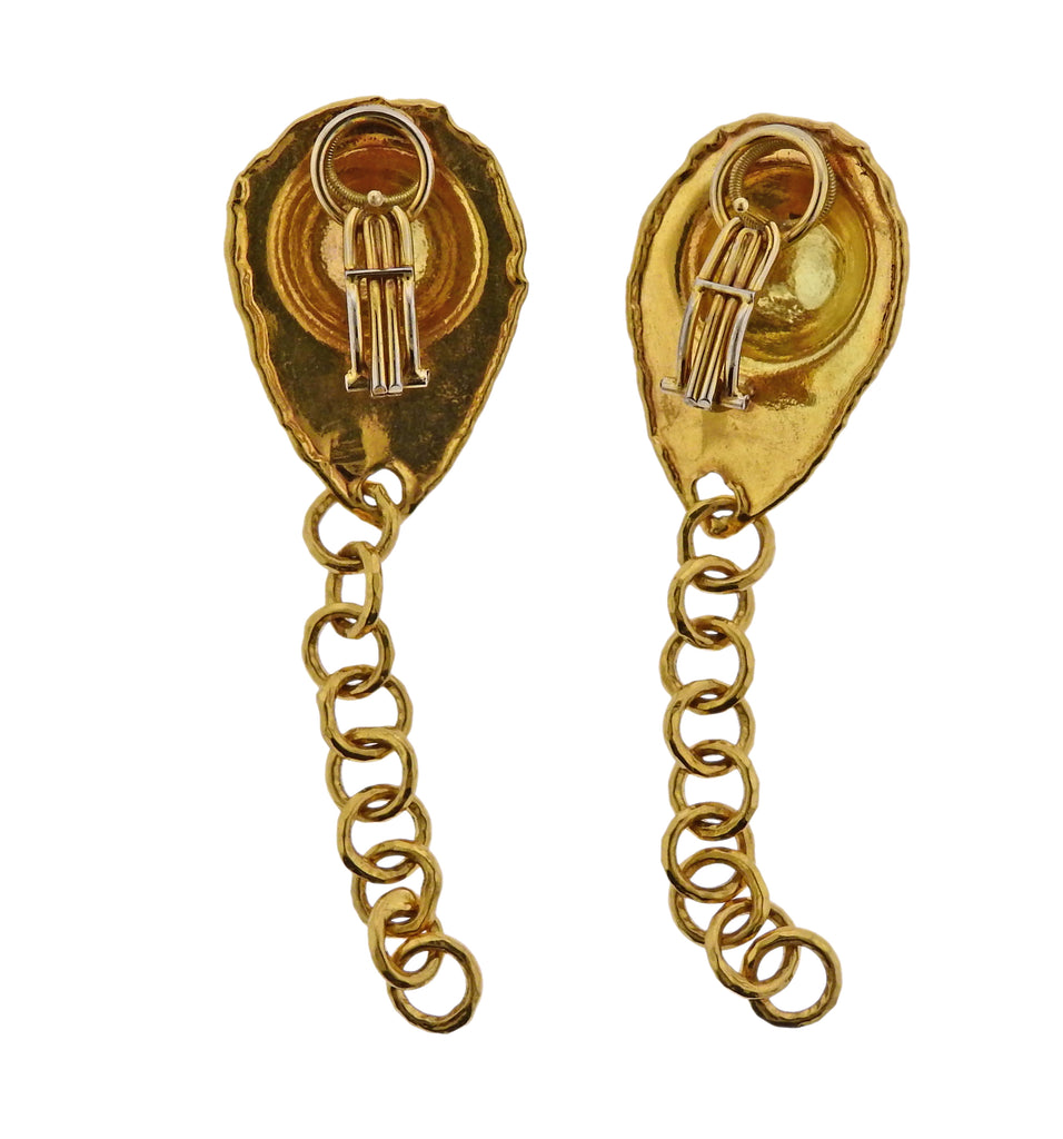 thumbnail image of Jean Mahie 22k Gold Chain Drop Earrings