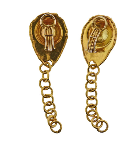 image of Jean Mahie 22k Gold Chain Drop Earrings