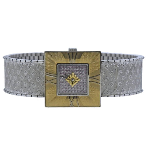 image of Buccellati Ladies Gold Diamond Agalmachron Bracelet Wristwatch
