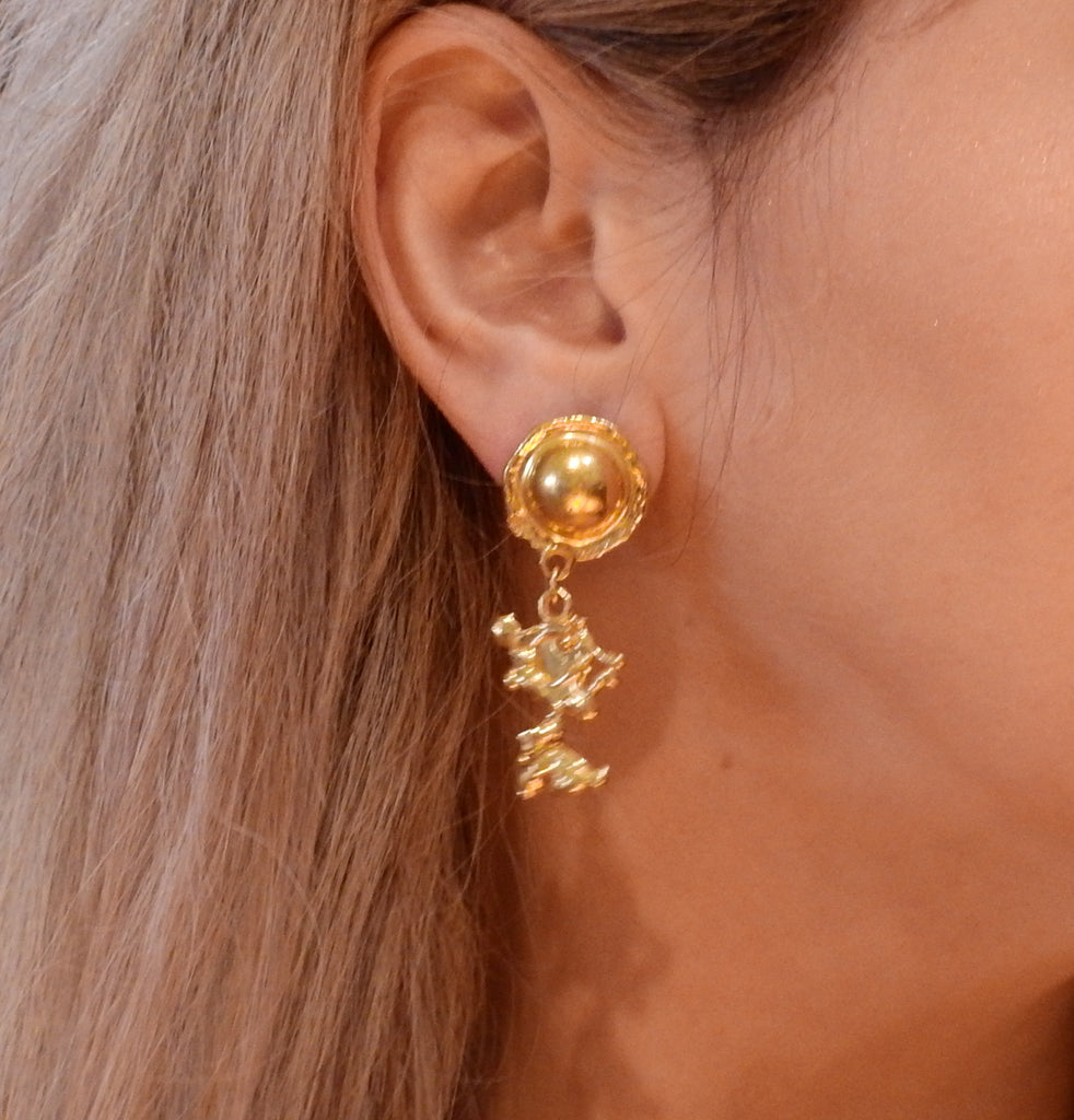 thumbnail image of Jean Mahie 22k Gold Charming Creatures Drop Earrings