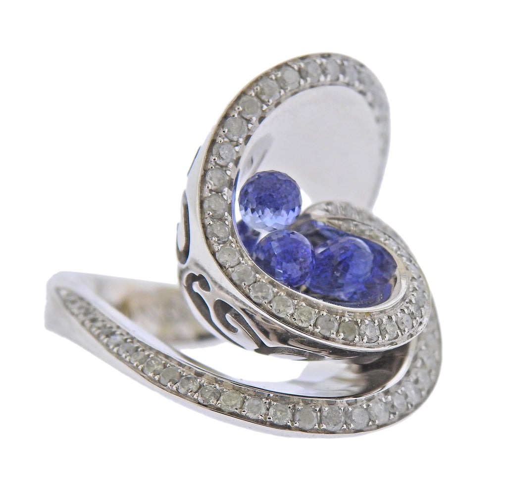 thumbnail image of De Grisogono Chiocciolina Diamond Sapphire White Gold Ring 50