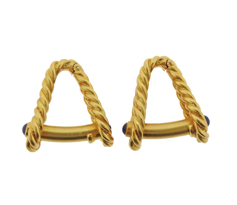 thumbnail image of Tiffany & Co. Sapphire Gold Stirrup Cufflinks