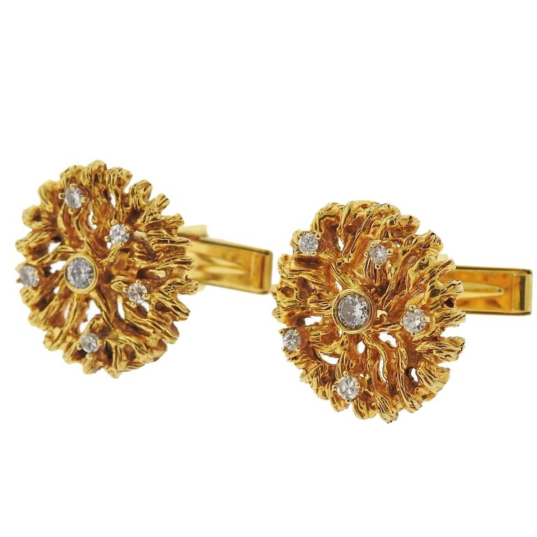 thumbnail image of 1970s Naturalistic Diamond Gold Cufflinks