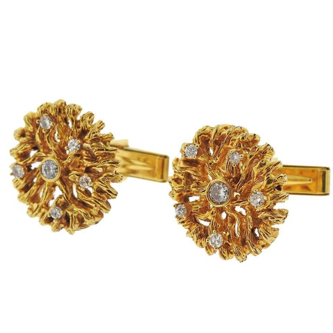 image of 1970s Naturalistic Diamond Gold Cufflinks