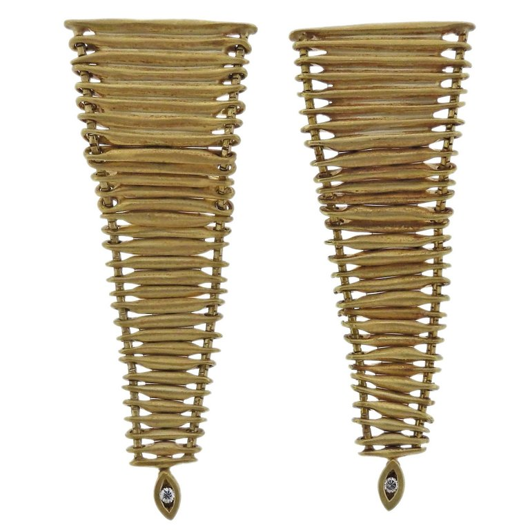 thumbnail image of H. Stern Filaments Diamond Gold Long Earrings