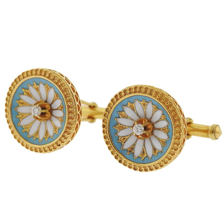 thumbnail image of Antique Victorian Diamond Enamel Gold Cufflinks