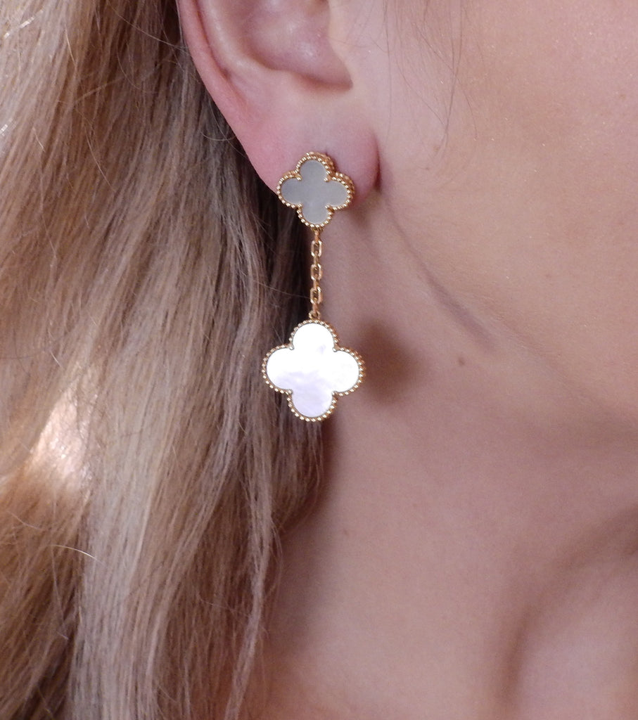 thumbnail image of Van Cleef & Arpels Magic Alhambra Mother of Pearl Gold Earrings