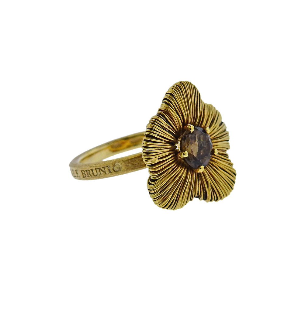 thumbnail image of Pasquale Bruni Penelope 18K Gold Smoky Topaz Flower Ring