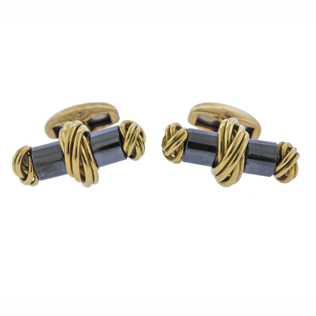 thumbnail image of Deakin & Francis Hematite Gold Cufflinks