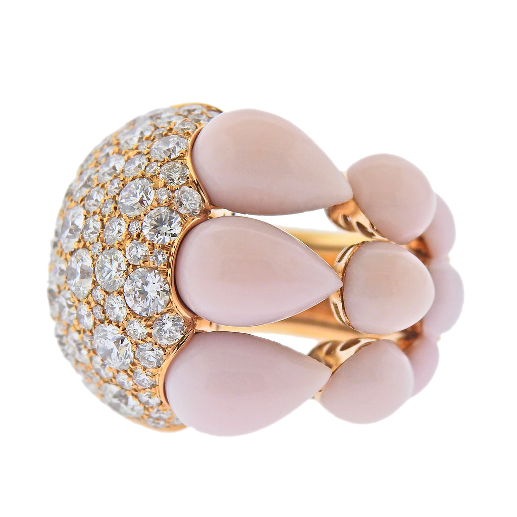thumbnail image of De Grisogono India Rose Gold 7.65ctw Diamond Pink Opal Ring 54