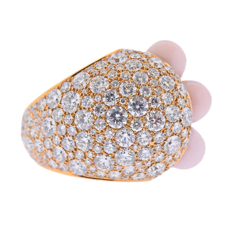image of De Grisogono India Rose Gold 7.65ctw Diamond Pink Opal Ring 54