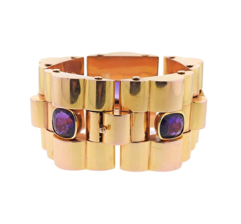 thumbnail image of Massive Retro Amethyst Gold Bracelet