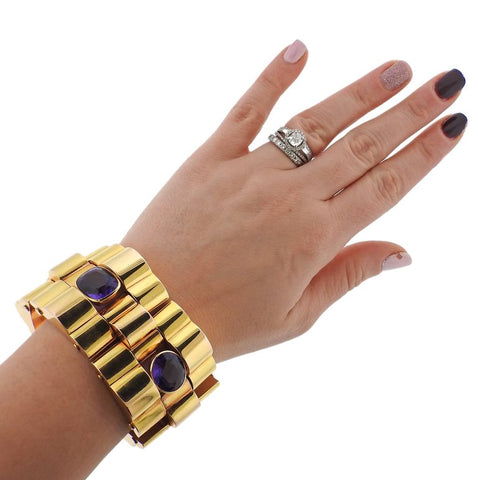 image of Massive Retro Amethyst Gold Bracelet