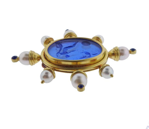 image of Elizabeth Locke Pearl Sapphire Venetian Glass Gold Brooch