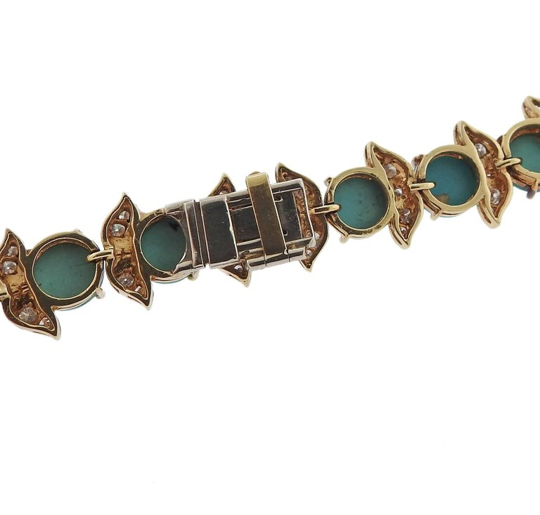 thumbnail image of 1960s Diamond Turquoise Gold Necklace Brooch