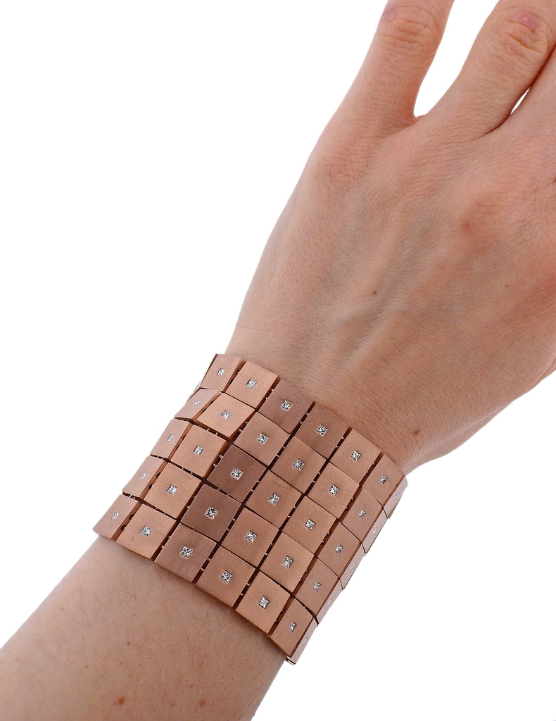 thumbnail image of Antonio Bernardo Diamond Rose Gold Wide Bracelet