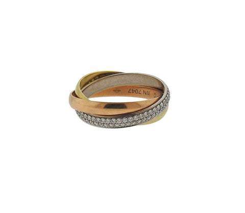 image of Cartier Trinity Diamond Gold Rolling Band Ring