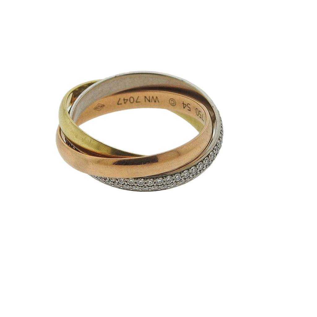 thumbnail image of Cartier Trinity Diamond Gold Rolling Band Ring