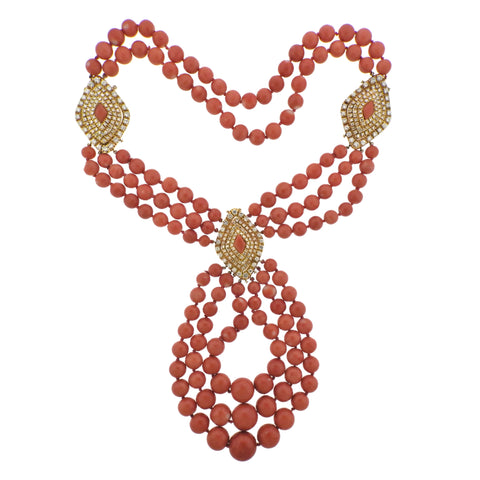 image of 1980s Vintage Coral 7.00ctw Diamond Gold Necklace