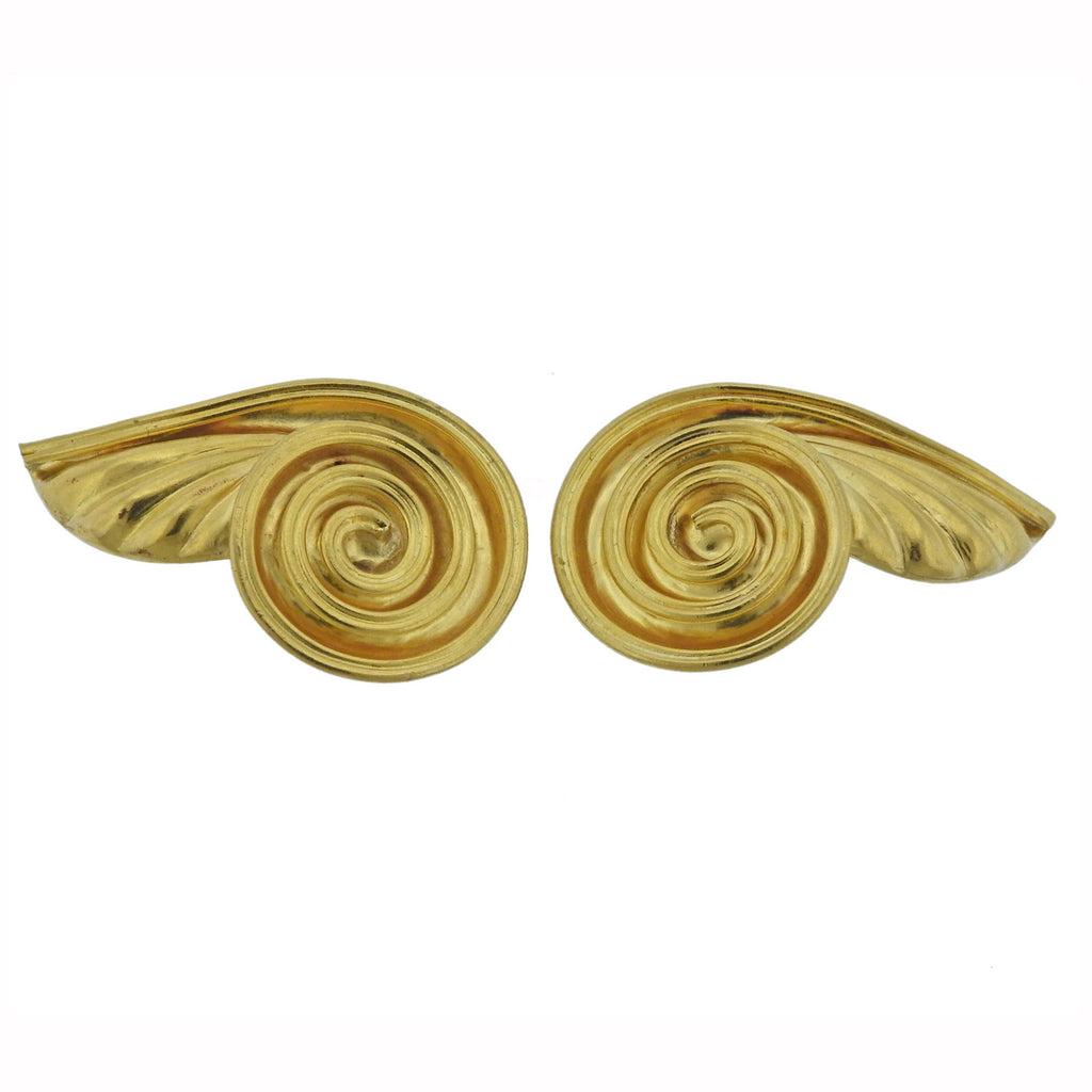 thumbnail image of Lalaounis Greece Swirl Motif Gold Earrings