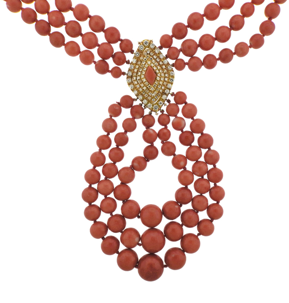 thumbnail image of 1980s Vintage Coral 7.00ctw Diamond Gold Necklace