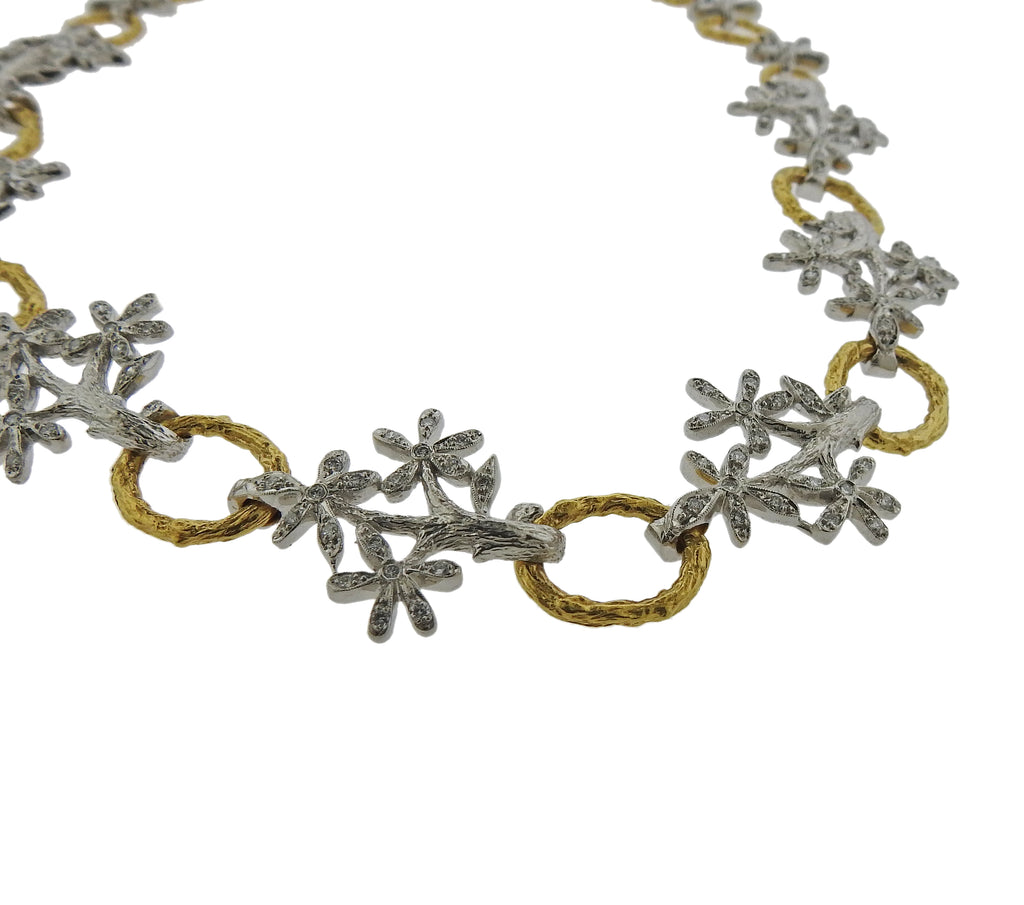 thumbnail image of Cathy Waterman Daisy Diamond Platinum Gold Necklace
