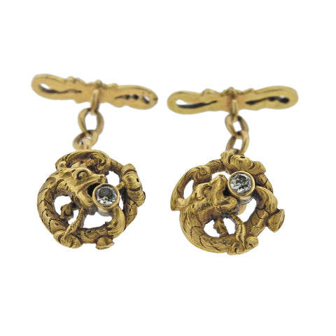 image of Antique Art Nouveau Diamond Gold Dragon Cufflinks