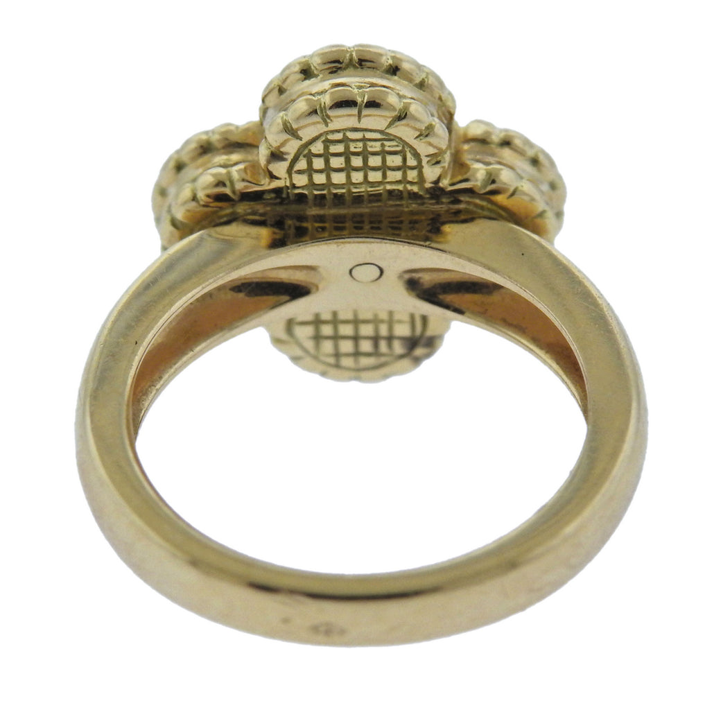 thumbnail image of Van Cleef & Arpels Vintage Alhambra Onyx Diamond Gold Ring