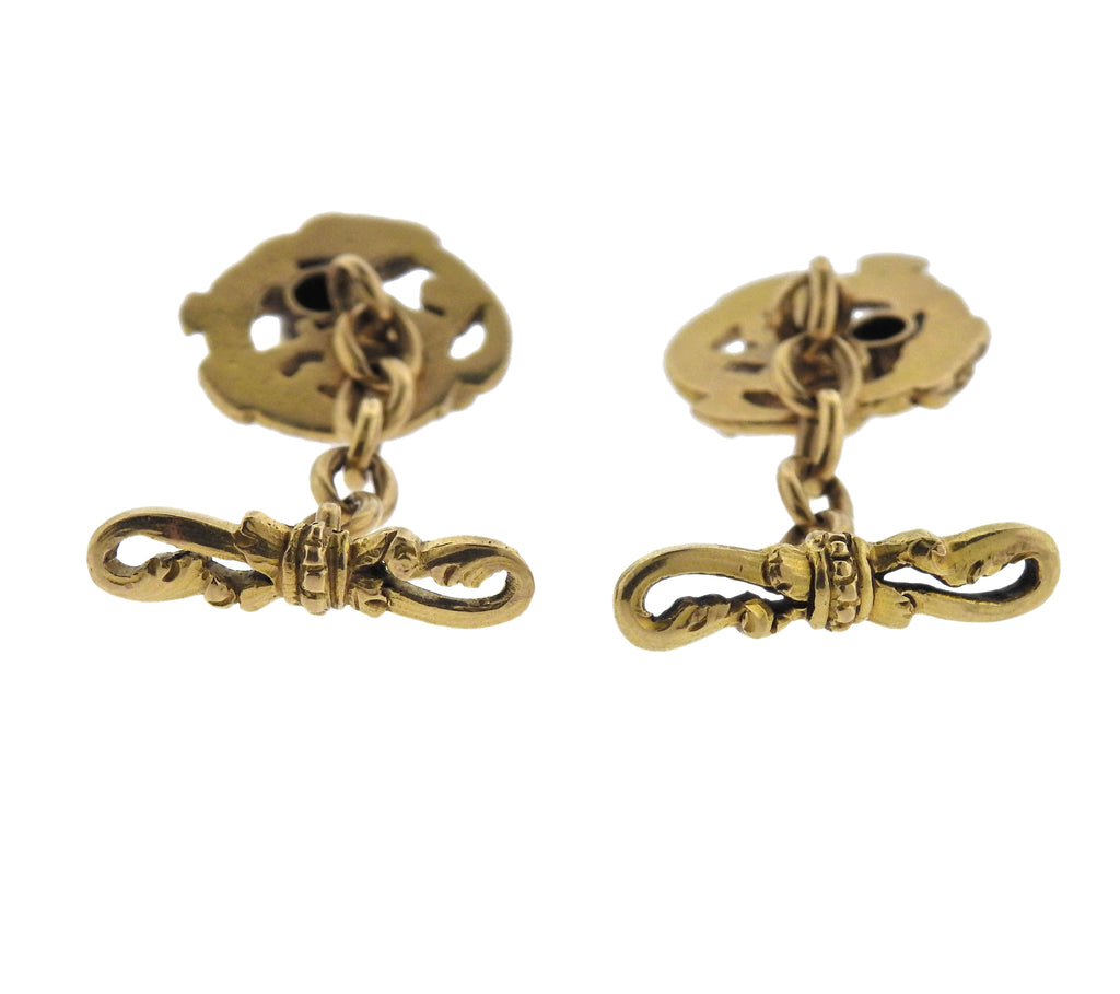 thumbnail image of Antique Art Nouveau Diamond Gold Dragon Cufflinks