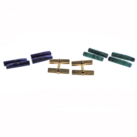 image of Cartier France Malachite Lapis Gold Interchangeable Cufflinks