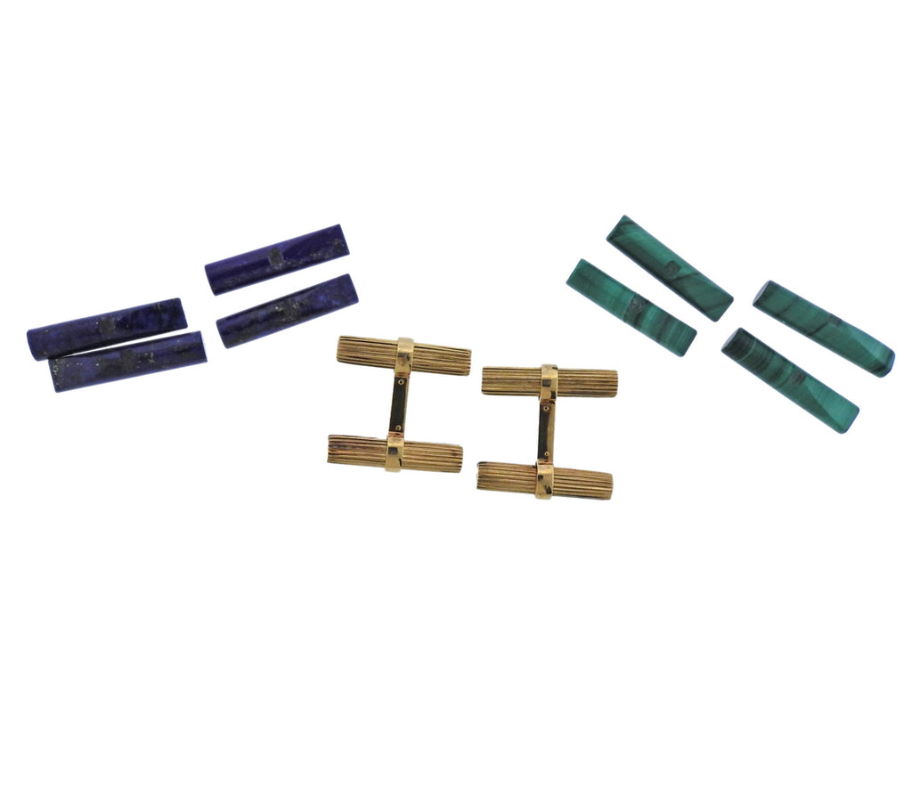 thumbnail image of Cartier France Malachite Lapis Gold Interchangeable Cufflinks