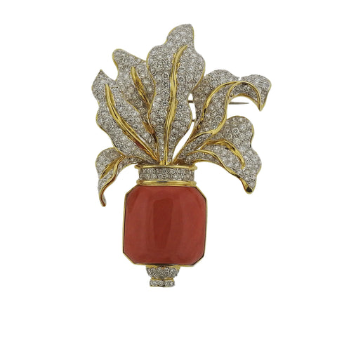 image of Coral Diamond Gold Brooch Pin