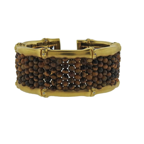 image of Mish New York Tiger's Eye Diamond Gold Bracelet